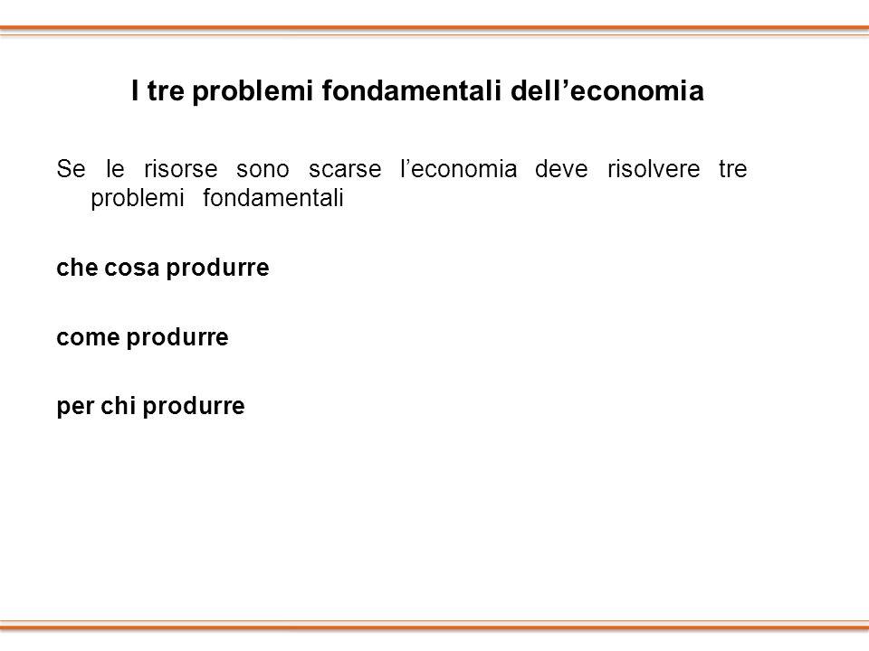 Se le risorse sono scarse leconomia deve risolvere tre problemi fondamentali che cosa produrre come produrre per chi produrre I tre problemi fondament