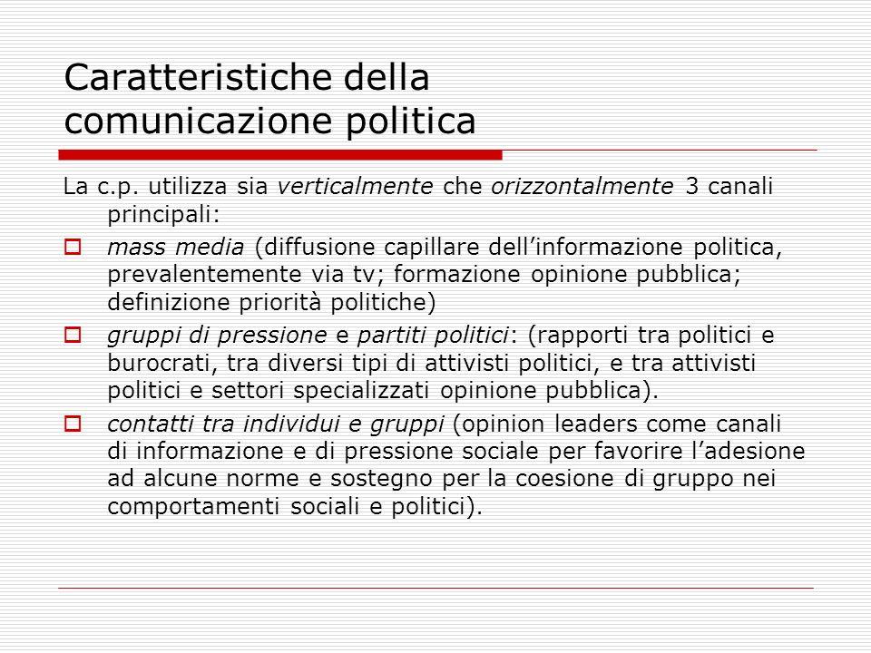 Caratteristiche della comunicazione politica La c.p. utilizza sia verticalmente che orizzontalmente 3 canali principali: mass media (diffusione capill