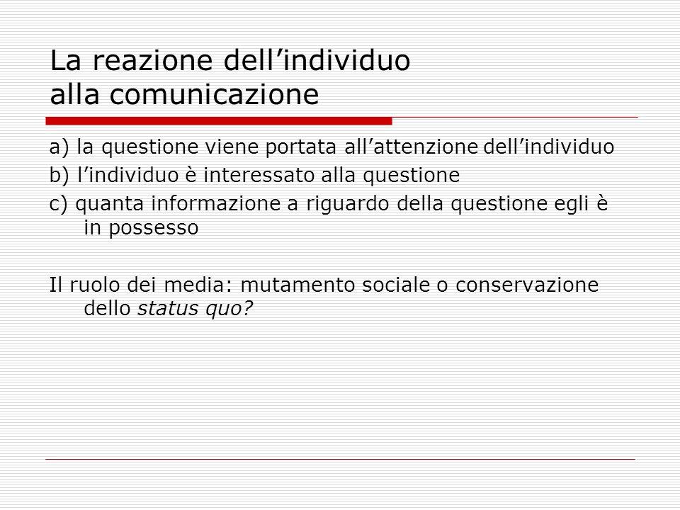 La reazione dellindividuo alla comunicazione a) la questione viene portata allattenzione dellindividuo b) lindividuo è interessato alla questione c) q