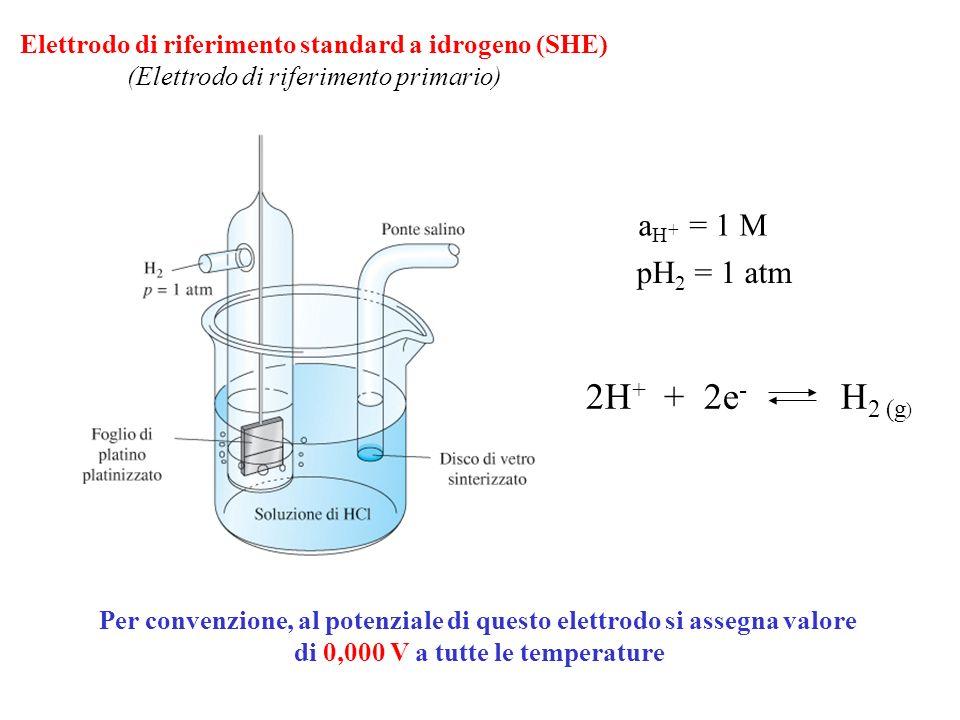 Elettrodo a calomelano foro KCl saturo Pasta di Hg + Hg 2 Cl 2 + KCl saturo Cavo elettrico Hg Hg 2 Cl 2 sat., KCl (x M) Di solito è presente una soluzione satura di KCl e lelettrodo è detto a calomelano saturo (SCE) Hg 2 Cl 2 (s) + 2e - 2Hg (l) + 2Cl - E = E° - 0.05916 log [Cl - ] E° = 0.244 V (25°C) Il potenziale dipende solo da [Cl - ] mantenuta costante dalla presenza di KCl.
