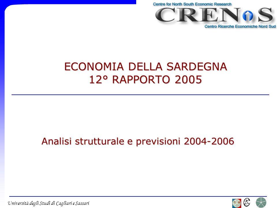 Università degli Studi di Cagliari e Sassari ECONOMIA DELLA SARDEGNA 12° RAPPORTO 2005 Analisi strutturale e previsioni 2004-2006
