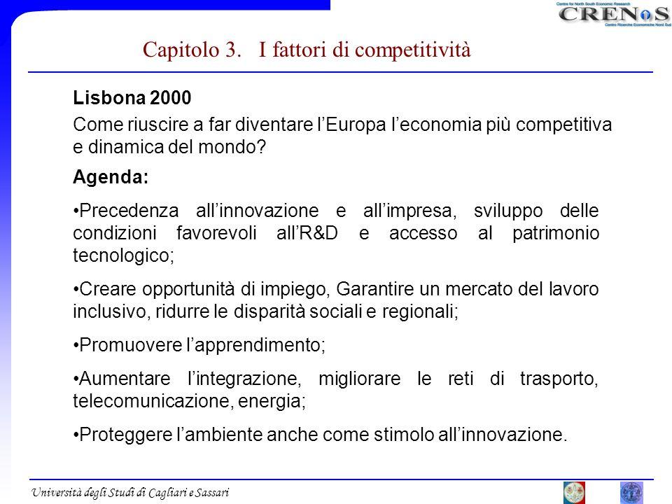 Università degli Studi di Cagliari e Sassari Capitolo 3. I fattori di competitività Lisbona 2000 Come riuscire a far diventare lEuropa leconomia più c