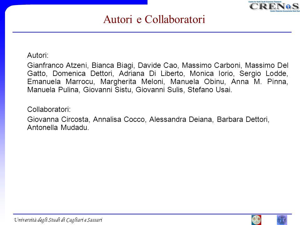 Università degli Studi di Cagliari e Sassari Autori e Collaboratori Autori: Gianfranco Atzeni, Bianca Biagi, Davide Cao, Massimo Carboni, Massimo Del