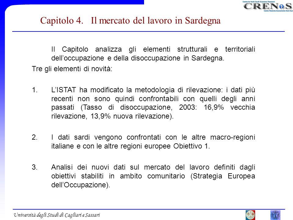 Università degli Studi di Cagliari e Sassari Capitolo 4. Il mercato del lavoro in Sardegna Il Capitolo analizza gli elementi strutturali e territorial