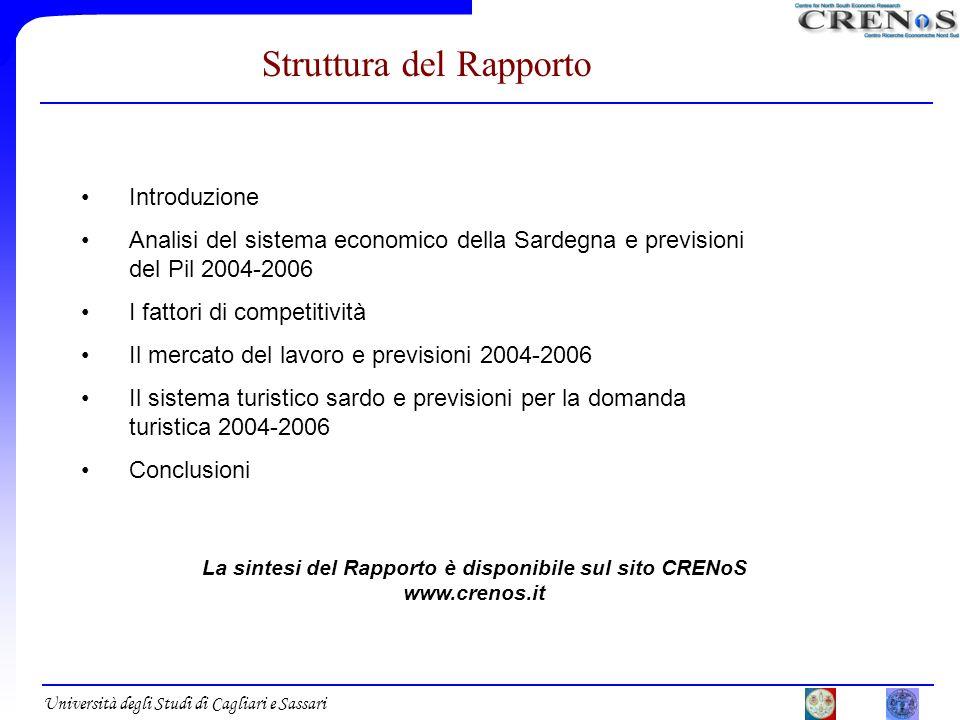 Università degli Studi di Cagliari e Sassari Introduzione Analisi del sistema economico della Sardegna e previsioni del Pil 2004-2006 I fattori di com