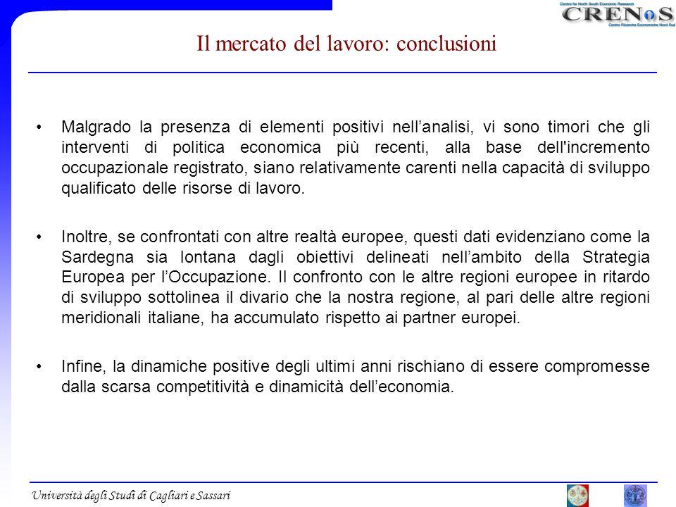 Università degli Studi di Cagliari e Sassari Il mercato del lavoro: conclusioni Malgrado la presenza di elementi positivi nellanalisi, vi sono timori