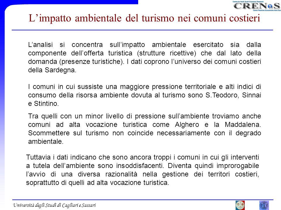 Università degli Studi di Cagliari e Sassari Limpatto ambientale del turismo nei comuni costieri Lanalisi si concentra sullimpatto ambientale esercita