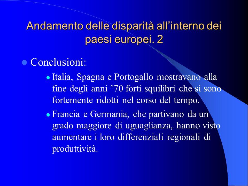 Andamento delle disparità allinterno dei paesi europei. 2 Conclusioni: Italia, Spagna e Portogallo mostravano alla fine degli anni 70 forti squilibri