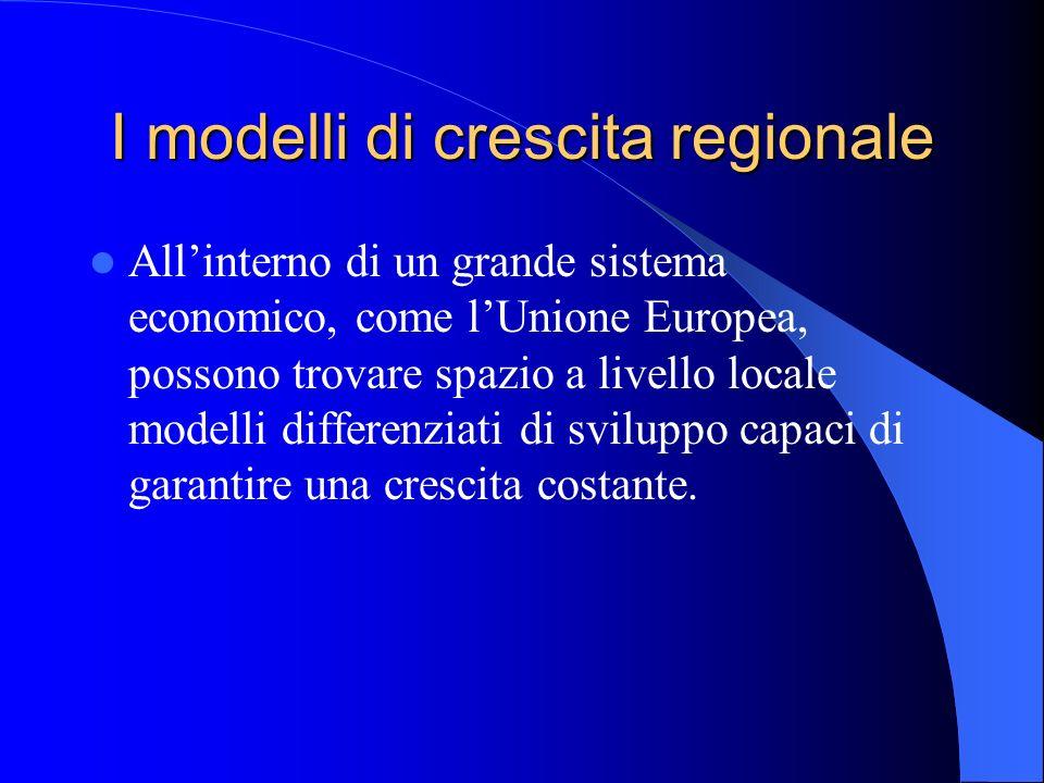 I modelli di crescita regionale Allinterno di un grande sistema economico, come lUnione Europea, possono trovare spazio a livello locale modelli diffe