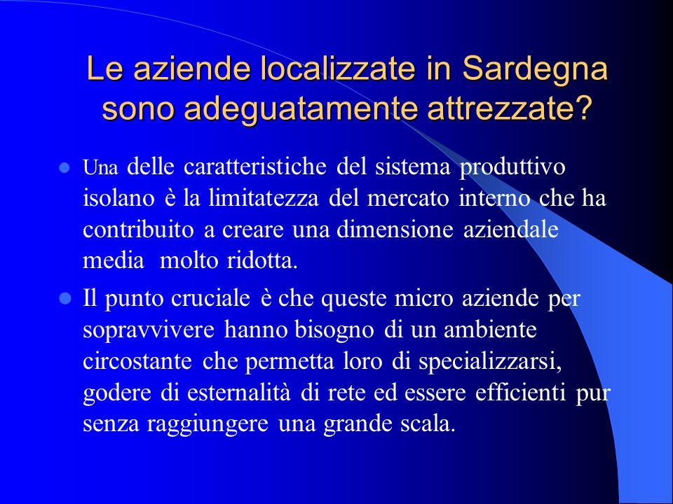 Le aziende localizzate in Sardegna sono adeguatamente attrezzate? Una delle caratteristiche del sistema produttivo isolano è la limitatezza del mercat