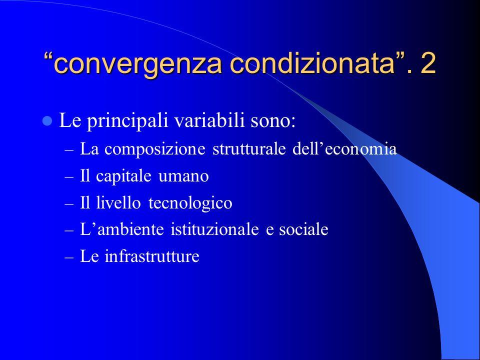 convergenza condizionata. 2 Le principali variabili sono: – La composizione strutturale delleconomia – Il capitale umano – Il livello tecnologico – La