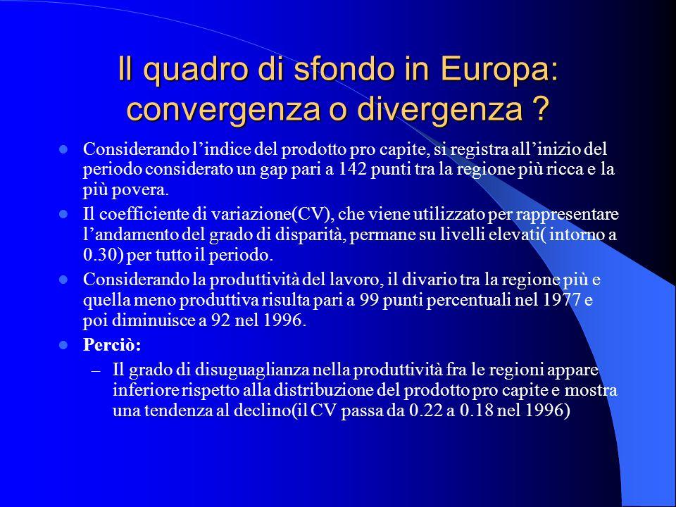 Il quadro di sfondo in Europa: convergenza o divergenza ? Considerando lindice del prodotto pro capite, si registra allinizio del periodo considerato