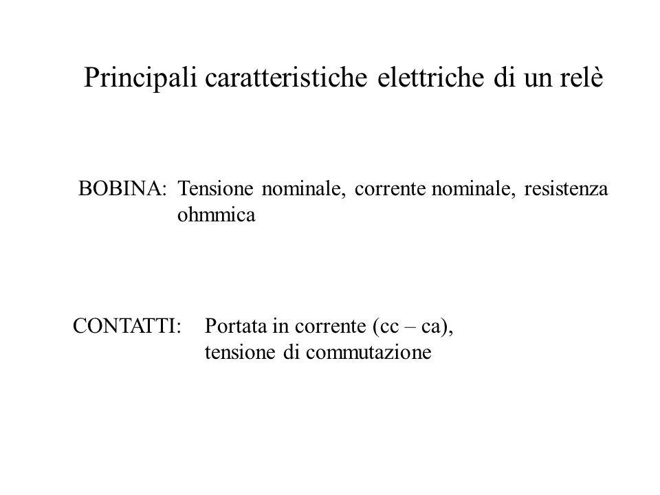 Principali caratteristiche elettriche di un relè BOBINA:Tensione nominale, corrente nominale, resistenza ohmmica CONTATTI:Portata in corrente (cc – ca