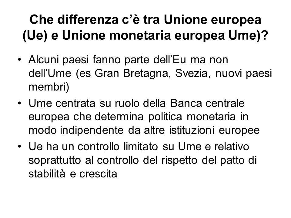 Che differenza cè tra Unione europea (Ue) e Unione monetaria europea Ume)? Alcuni paesi fanno parte dellEu ma non dellUme (es Gran Bretagna, Svezia, n