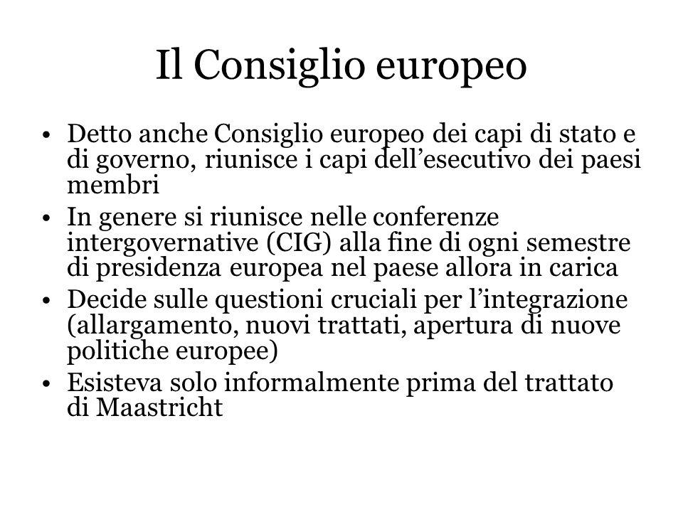 Il Consiglio europeo Detto anche Consiglio europeo dei capi di stato e di governo, riunisce i capi dellesecutivo dei paesi membri In genere si riunisc