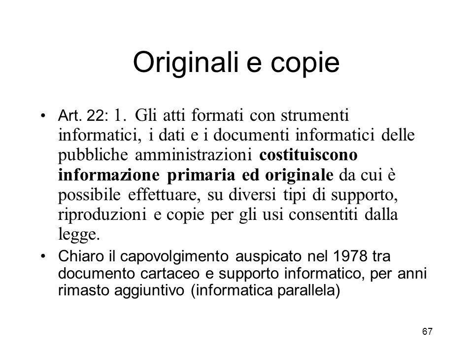 67 Originali e copie Art.