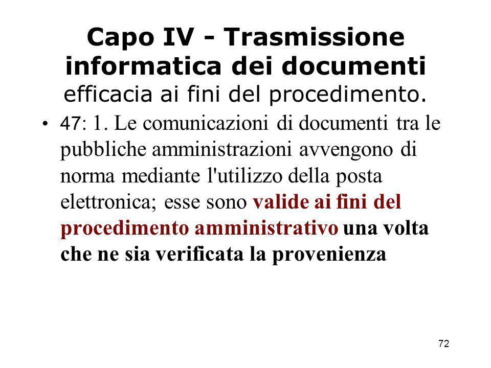 72 Capo IV - Trasmissione informatica dei documenti efficacia ai fini del procedimento.