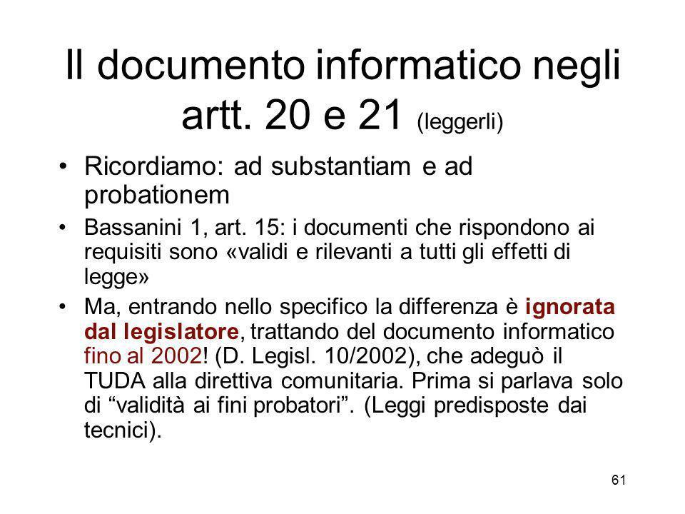61 Il documento informatico negli artt.