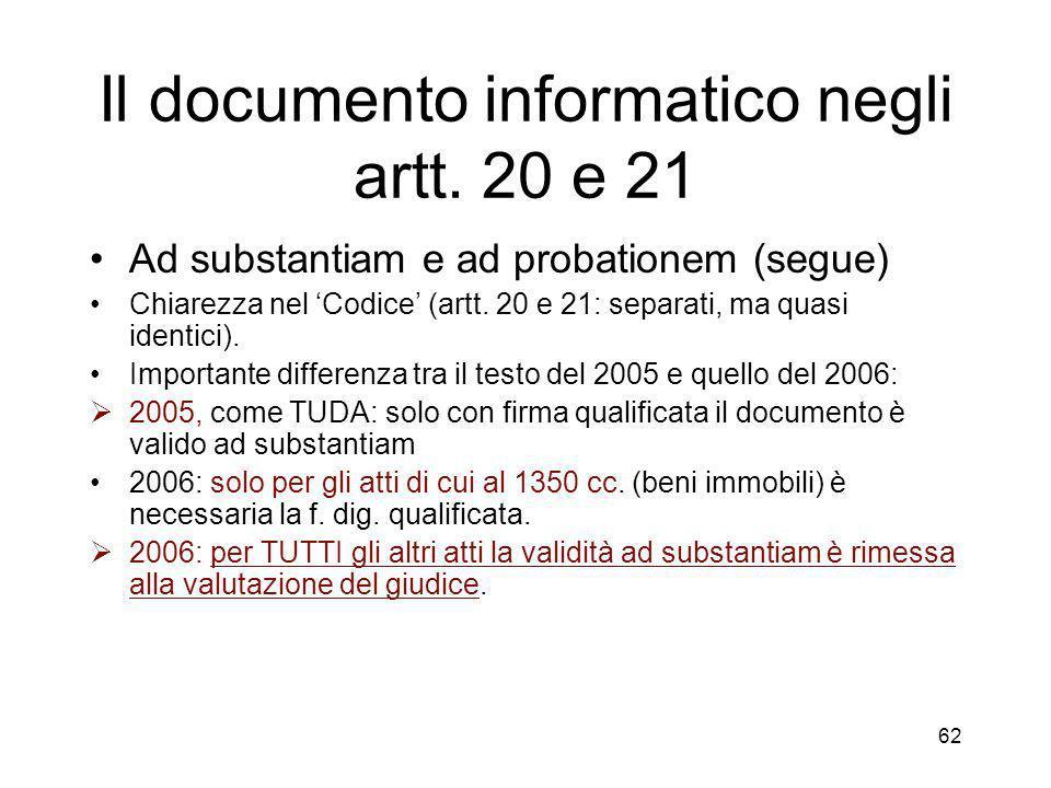 62 Il documento informatico negli artt.