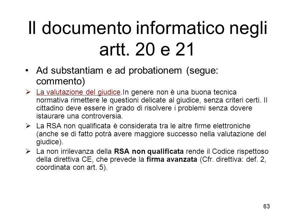 63 Il documento informatico negli artt.