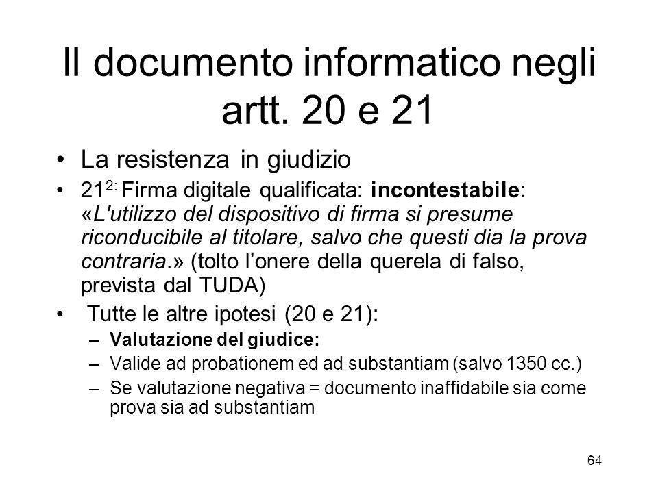 64 Il documento informatico negli artt.