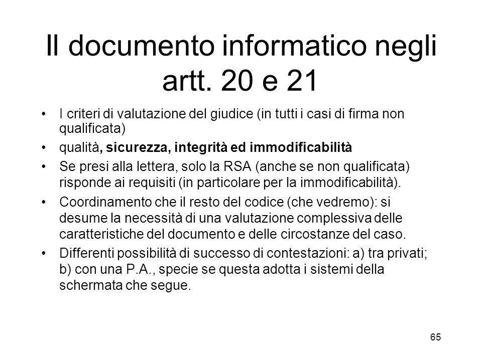 65 Il documento informatico negli artt.
