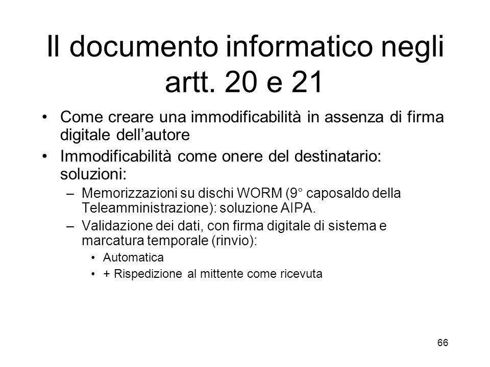 66 Il documento informatico negli artt.