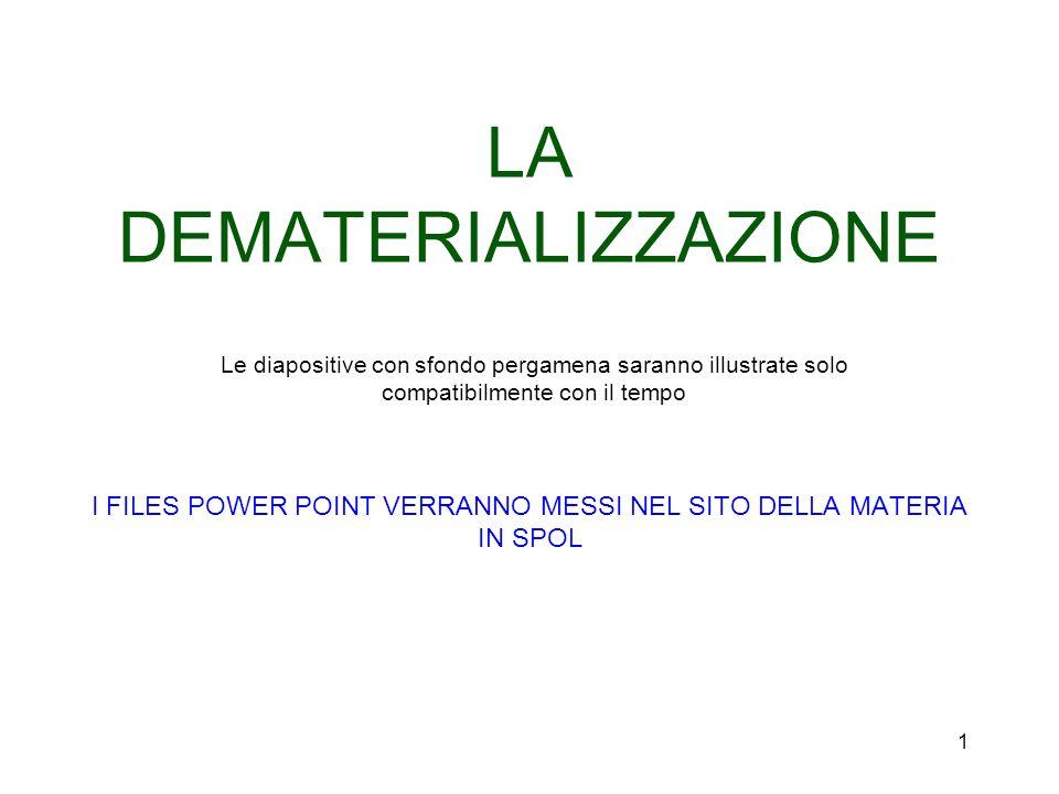 LA DEMATERIALIZZAZIONE I FILES POWER POINT VERRANNO MESSI NEL SITO DELLA MATERIA IN SPOL Le diapositive con sfondo pergamena saranno illustrate solo compatibilmente con il tempo 1