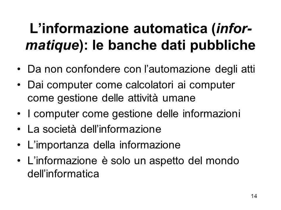 I grandi temi dellinformatica amministrativa Linformazione automatica (infor-matique): le banche dati pubbliche Linterfaccia verso il cittadino (front