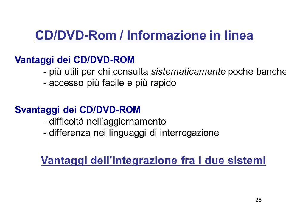 4) Diffusione dellinformazione A) con accesso in linea (on line) - sistemi telematici B) con accesso fuori linea (off line) - sistemi locali: CD/DVD-R
