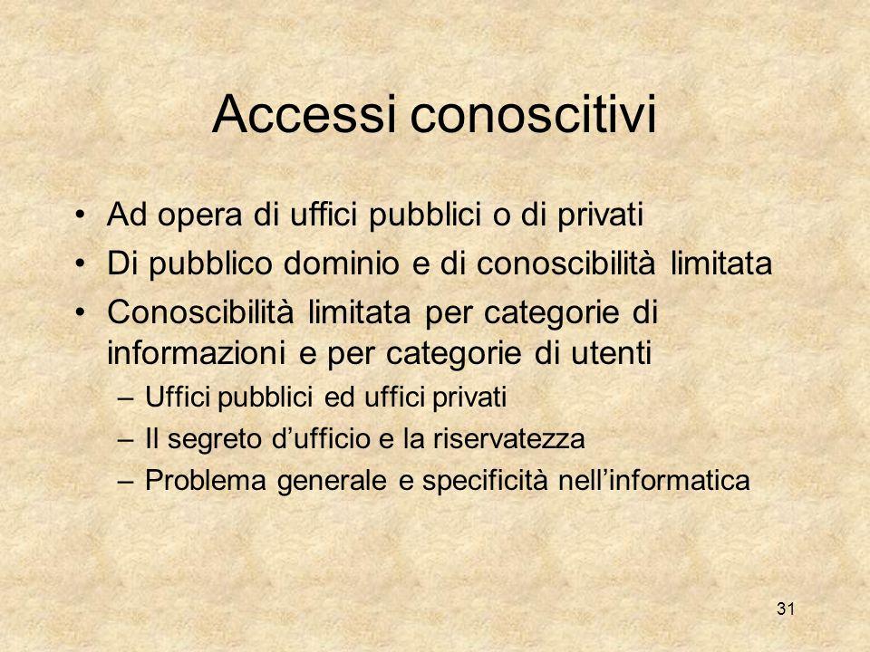 I livelli ed i limiti di accesso alle informazioni Accessi conoscitivi Accessi creativi, modificativi, integrativi –Connessi allesercizio di specifich