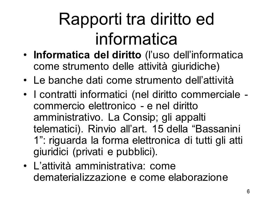 Rapporti tra diritto ed informatica Diritto dellinformatica (la disciplina giuridica del fenomeno informatica) Reati informatici Diritti di autore sui