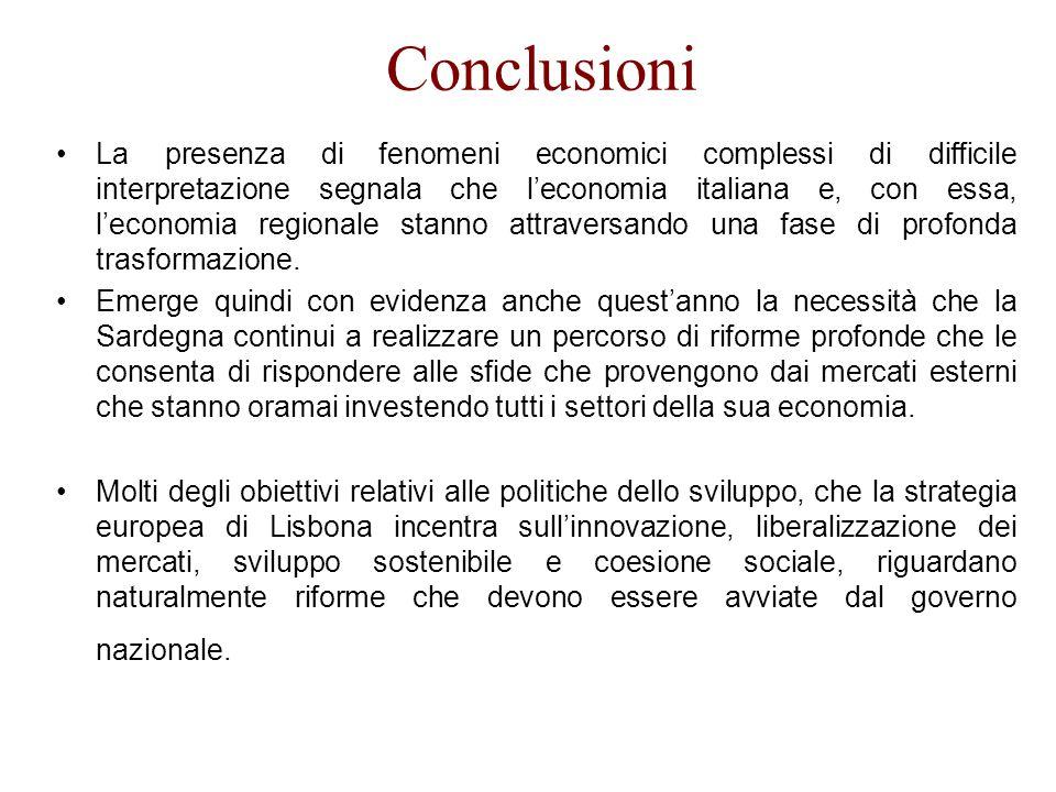 Conclusioni La presenza di fenomeni economici complessi di difficile interpretazione segnala che leconomia italiana e, con essa, leconomia regionale stanno attraversando una fase di profonda trasformazione.