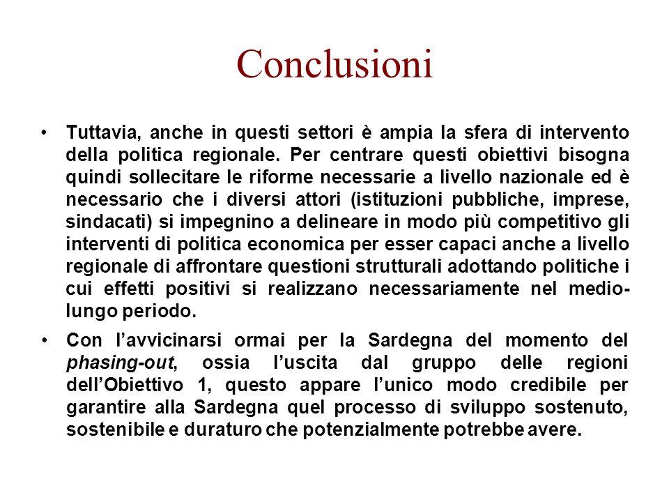 Conclusioni Tuttavia, anche in questi settori è ampia la sfera di intervento della politica regionale.