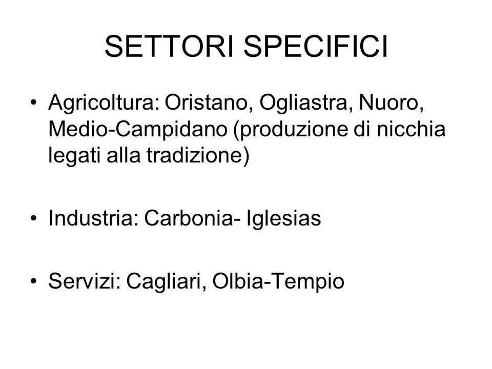 SETTORI SPECIFICI Agricoltura: Oristano, Ogliastra, Nuoro, Medio-Campidano (produzione di nicchia legati alla tradizione) Industria: Carbonia- Iglesias Servizi: Cagliari, Olbia-Tempio