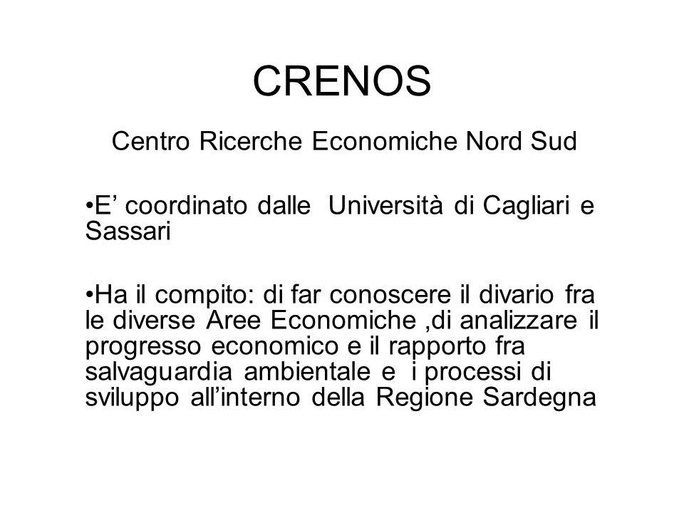 CRENOS Centro Ricerche Economiche Nord Sud E coordinato dalle Università di Cagliari e Sassari Ha il compito: di far conoscere il divario fra le diverse Aree Economiche,di analizzare il progresso economico e il rapporto fra salvaguardia ambientale e i processi di sviluppo allinterno della Regione Sardegna