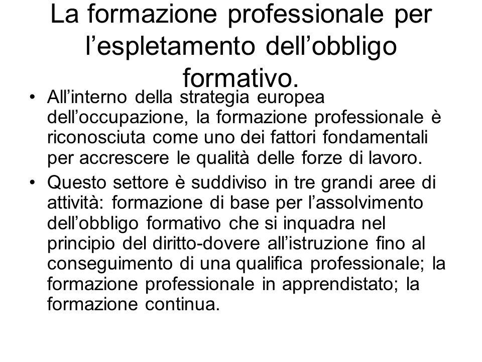 La formazione professionale per lespletamento dellobbligo formativo.
