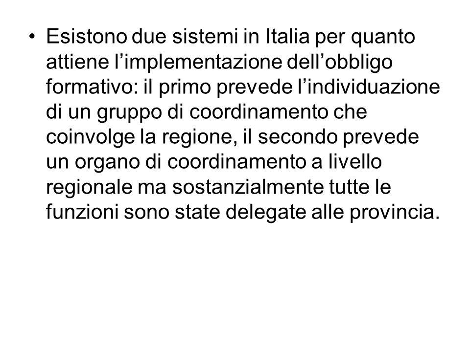 Esistono due sistemi in Italia per quanto attiene limplementazione dellobbligo formativo: il primo prevede lindividuazione di un gruppo di coordinamento che coinvolge la regione, il secondo prevede un organo di coordinamento a livello regionale ma sostanzialmente tutte le funzioni sono state delegate alle provincia.