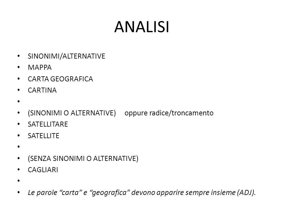 ANALISI SINONIMI/ALTERNATIVE MAPPA CARTA GEOGRAFICA CARTINA (SINONIMI O ALTERNATIVE) oppure radice/troncamento SATELLITARE SATELLITE (SENZA SINONIMI O