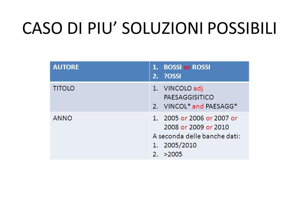 CASO DI PIU SOLUZIONI POSSIBILI AUTORE1.BOSSI or ROSSI 2.?OSSI TITOLO1.VINCOLO adj PAESAGGISITICO 2.VINCOL* and PAESAGG* ANNO1.2005 or 2006 or 2007 or