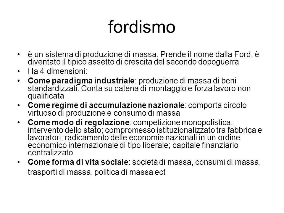 fordismo è un sistema di produzione di massa. Prende il nome dalla Ford. è diventato il tipico assetto di crescita del secondo dopoguerra Ha 4 dimensi