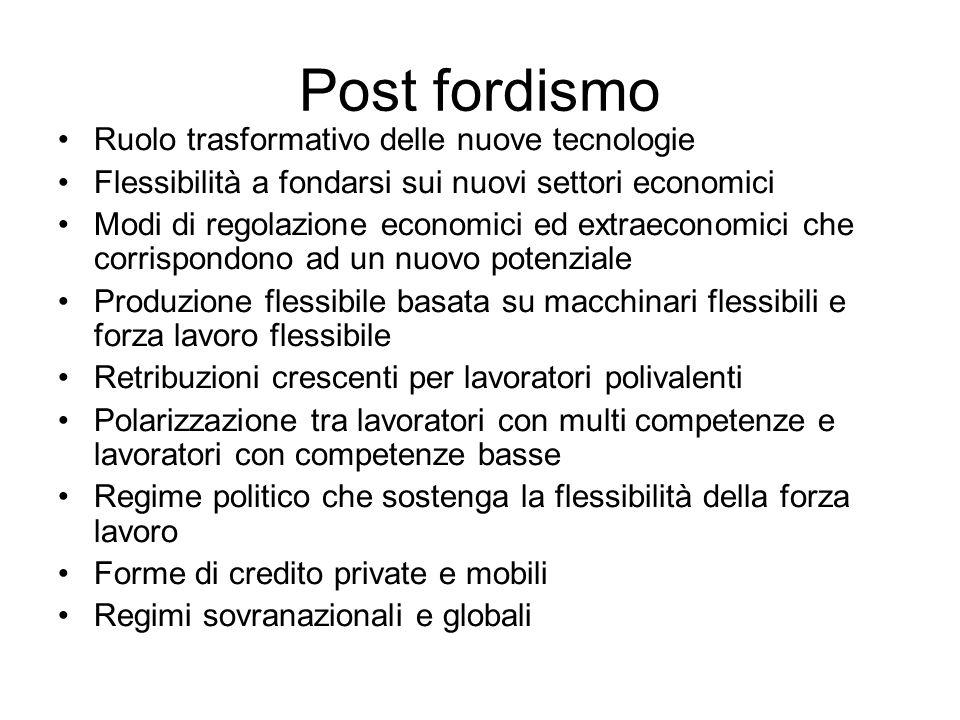 Post fordismo Ruolo trasformativo delle nuove tecnologie Flessibilità a fondarsi sui nuovi settori economici Modi di regolazione economici ed extraeco