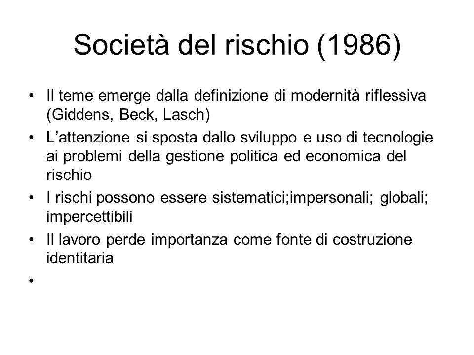 Società del rischio (1986) Il teme emerge dalla definizione di modernità riflessiva (Giddens, Beck, Lasch) Lattenzione si sposta dallo sviluppo e uso
