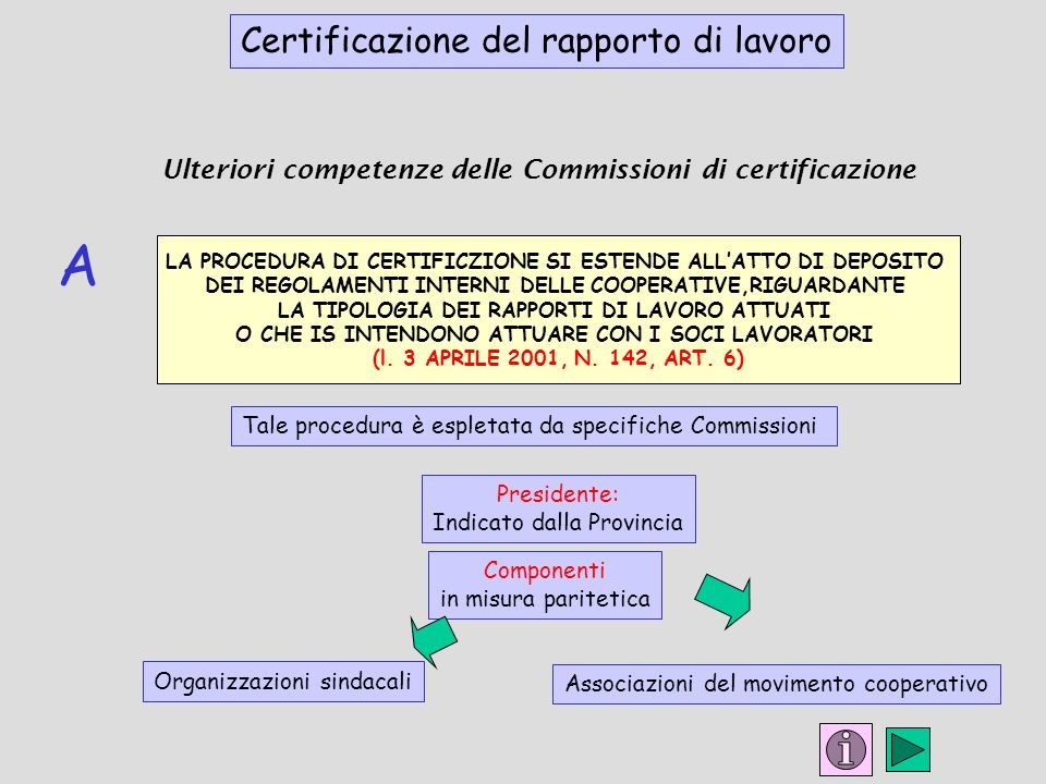 Ulteriori competenze delle Commissioni di certificazione LA PROCEDURA DI CERTIFICZIONE SI ESTENDE ALLATTO DI DEPOSITO DEI REGOLAMENTI INTERNI DELLE COOPERATIVE,RIGUARDANTE LA TIPOLOGIA DEI RAPPORTI DI LAVORO ATTUATI O CHE IS INTENDONO ATTUARE CON I SOCI LAVORATORI (l.