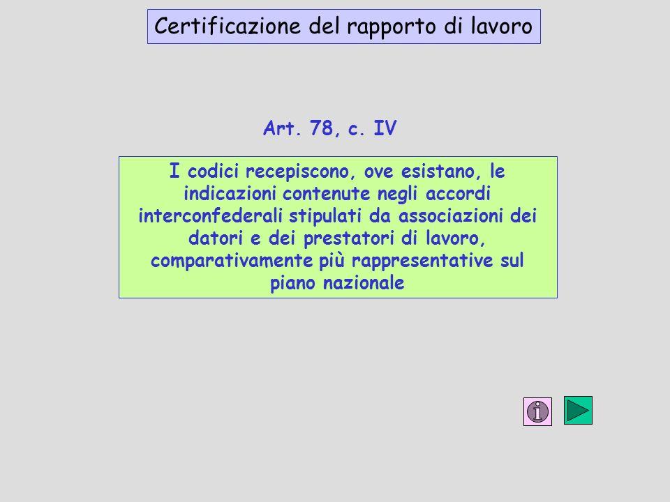 I codici recepiscono, ove esistano, le indicazioni contenute negli accordi interconfederali stipulati da associazioni dei datori e dei prestatori di lavoro, comparativamente più rappresentative sul piano nazionale Certificazione del rapporto di lavoro Art.