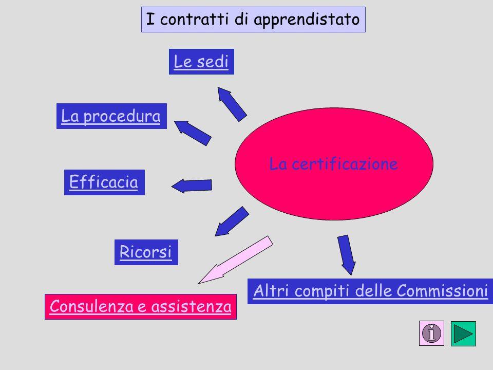 La procedura Il lavoro a progetto Ricorsi Efficacia Le sedi La certificazione Consulenza e assistenza I contratti di apprendistato Altri compiti delle Commissioni