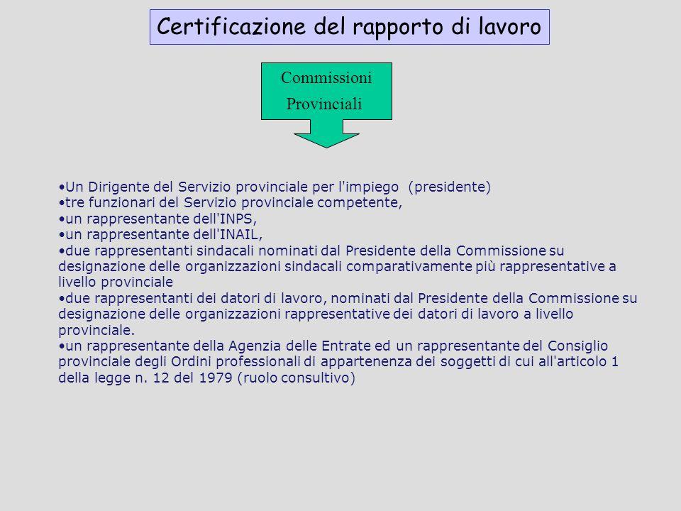 Certificazione del rapporto di lavoro Commissioni Provinciali Un Dirigente del Servizio provinciale per l'impiego (presidente) tre funzionari del Serv