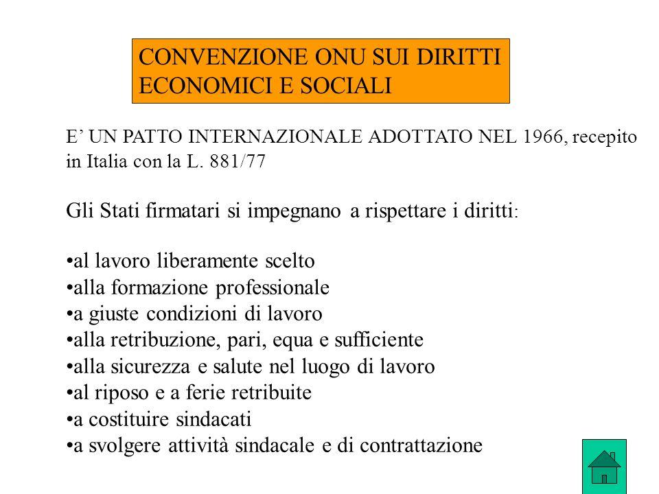 CONVENZIONE ONU SUI DIRITTI ECONOMICI E SOCIALI E UN PATTO INTERNAZIONALE ADOTTATO NEL 1966, recepito in Italia con la L. 881/77 Gli Stati firmatari s