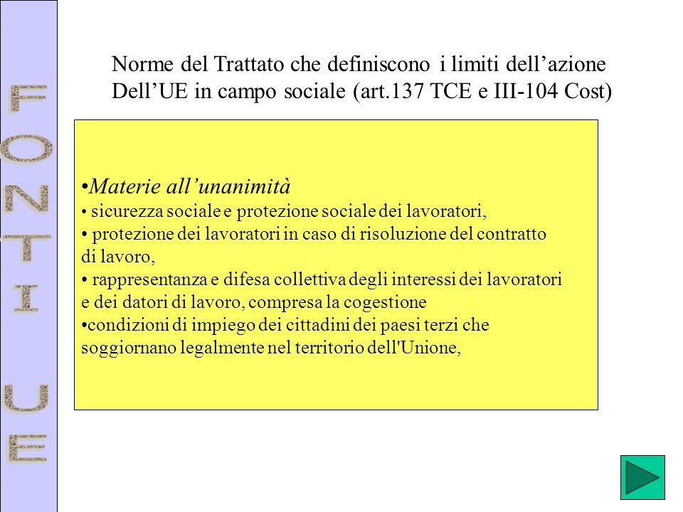 Norme del Trattato che definiscono i limiti dellazione DellUE in campo sociale (art.137 TCE e III-104 Cost) Materie allunanimità sicurezza sociale e p
