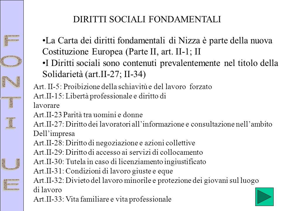 DIRITTI SOCIALI FONDAMENTALI La Carta dei diritti fondamentali di Nizza è parte della nuova Costituzione Europea (Parte II, art. II-1; II I Diritti so